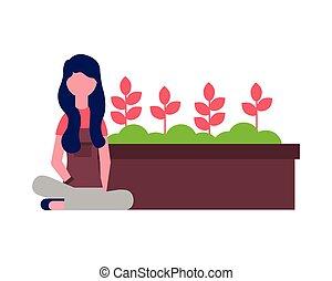 potted, mulher, flor jardim, jardineiro