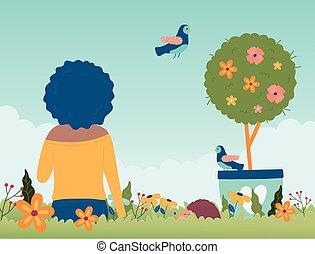 potted, olá, sentando, flores, primavera, árvore, mulher, pássaro