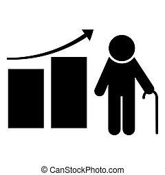 poupar, finanças, ilustração, fundo, vetorial, pensão, icon., investimento