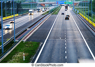 poznan, polônia, rodovia, controlled-access