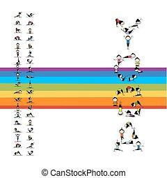 prática, desenho, conceito, ioga, seu