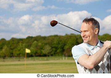 prática, feliz, golfe, homem