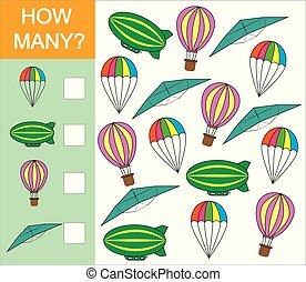 pré-escolar, illustration., vetorial, ar, contagem, objeto, transporte, jogo, children., como, aprendizagem, números, mathematics., muitos