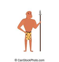 pré-histórico, caveman, ilustração, vetorial, caricatura, man.