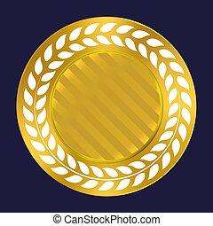 prêmio, ouro, grinalda, etiqueta, experiência., seal., qualidade