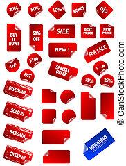 próprio, texto, etiquetas, pegajoso, seu, design., perfeitos, teia, qualquer, fácil, marketing, retro., size., grande, preço, cobrança, editar, 2.0, aqua, grunge, advertisement., vetorial