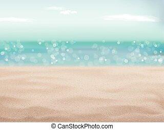 praia areia, fundo, cena, bonito