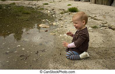 praia areia, tocando, crianças