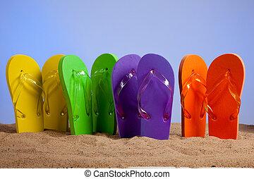 praia, coloridos, flip-flop, sandles, arenoso