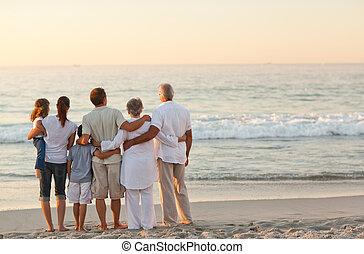 praia, família, bonito