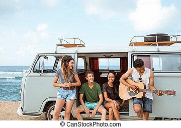 praia, hipster, furgão, amigos, retro