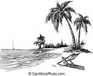 praia, lápis, verão, desenho