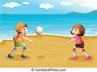 praia, meninas, voleibol jogo