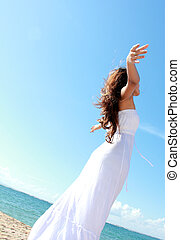 praia, mulher, braços abertos, relaxante