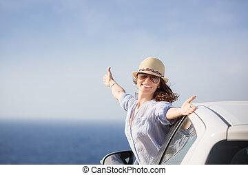 praia, mulher, motorista, feliz