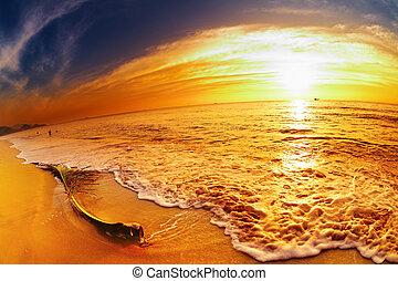 praia, pôr do sol, tailandia, tropicais