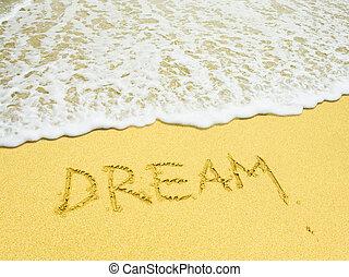 praia, palavra escrita, sonho, arenoso