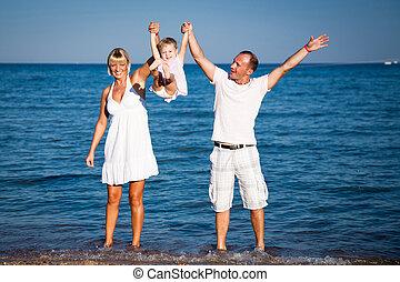 praia, tocando, família, feliz
