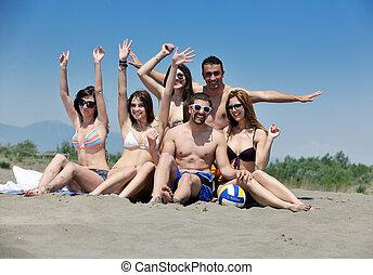 praia, tocando, feliz, criança, grupo