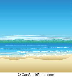 praia tropical, fundo, ilustração
