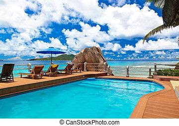 praia tropical, seychelles, -, piscina