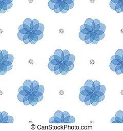 prata, seamless, azul, padrão, floral, ponto, fundo, brilhar