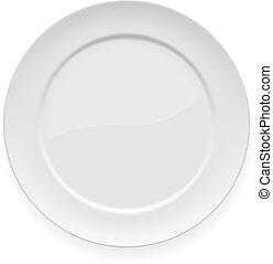 prato, branca, jantar, em branco