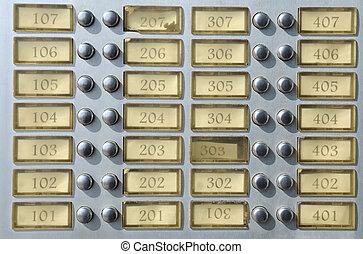 prato, campainha, apartamento, números, casa