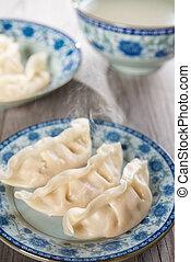 prato, fresco, dumplings, asiático, chinês