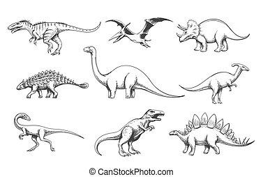 predadores, jogo, dinoussaur