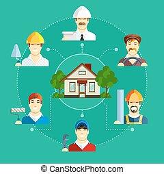 predios, apartamento, jogo, ícones, house., ocupação