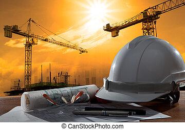predios, capacete, segurança, cena, pland, madeira, arquiteta, arquivo, tabela, construção, pôr do sol