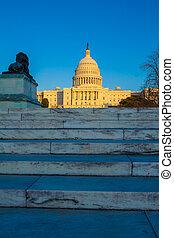 predios, capitol, c.c. washington, pôr do sol, antes de