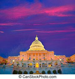 predios, capitol, congresso, c.c. washington, nós, pôr do sol