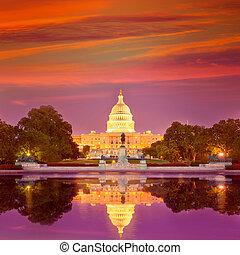 predios, capitol, congresso, c.c. washington, pôr do sol