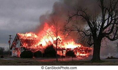 predios, casa, /, fogo, flamejar