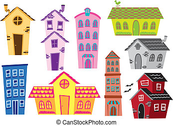 predios, casa, jogo, caricatura