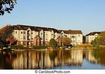 predios, complexo apartamento, lago
