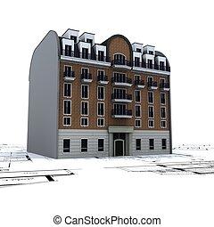 predios, desenhos técnicos, residencial, topo, 2, arquiteta
