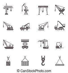 predios, jogo, ícones, construção, pretas, guindaste