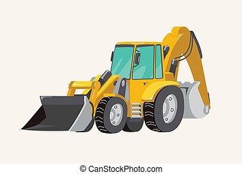 predios, máquinas, vetorial, luminoso, vehicles., ilustração, veículos, escavador, mão, caricatura, trabalho, boys., carro., pecial, amarela, cute, desenhado, brinquedo, engraçado