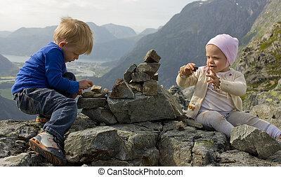 predios, mountaintop., cairn, (1, anos, rauma, 3, old), molde, crianças