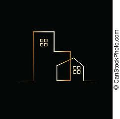 predios, residencial, casa, logotipo
