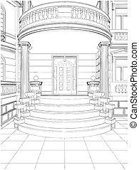 predios, residencial, entrada, casa