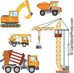 predios, trabalhadores, ilustração, vetorial, construção, construção, technic