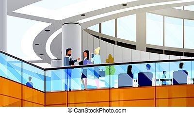 predios, trabalhando, centro, escritório, modernos, businesspeople, negócio, interior, reunião