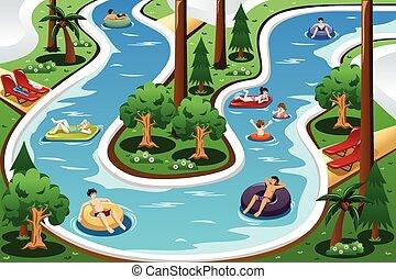 preguiçoso, rio, flutuante, piscina, pessoas