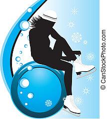 prender, menina, patins figura
