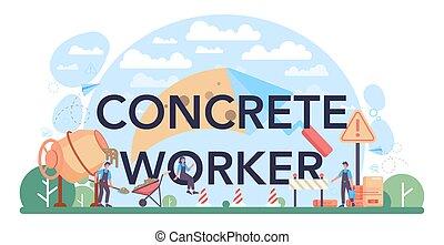 preparar, profissional, header., concreto, trabalhador, construtor, tipográfico