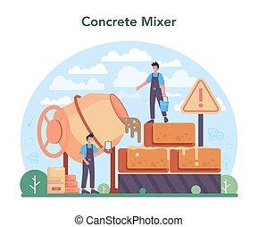 preparar, trabalhador, profissional, construtor, concept., concreto